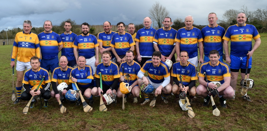 The 'home' Portlaw 'Golden Oldies' team pictured prior to last Saturday's, ahem, exhibition match!