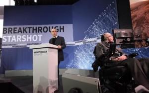 IT billionaire Yuri Milner and Professor Stephen Hawking at the launch of the multi-million 'Breakthrough Starshot' project.