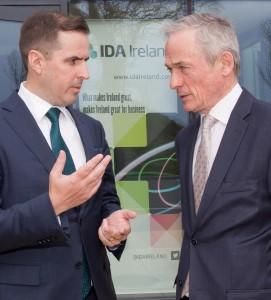IDA Chief Executive Martin Shanahan talking to Minister Bruton following the Opko Health/EirGen Pharma jobs announcement at Butlerstown on Thursday last. | Photo: John Power