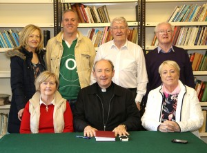 Pictured at the announcement of the revival of the Corpus Christ Procession in Waterford were (seated) Bishop of Waterford & Lismore Alphonsus Cullinan, Maura Browne, Kitty Nolan; standing from left: Liz McGough, Michael Doody, Patsy Sheridan and Ben Browne.