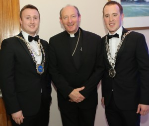 Mayors Eamon Quinlan and John Cummins pictured with Bishop of Waterford & Lismore Alphonsus Cullinan at the Mayors' Ball, which was held at The Tower Hotel on Saturday last. See News 26 and 27 for more photographs. 				| Photo: John Power