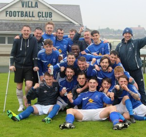 Villa FC celebrate after they beat Ferrybank to become 1B League Champions at Connors Park last Saturday.