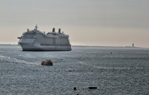 The Celebrity Silhouette: 2,850 passengers, 1,500 crew, 122,000 tonnes (two and a half Titanics) and a whopping 317 metres long, pictured off Dunmore on Monday morning last.