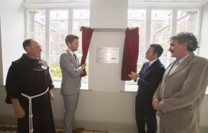 Pictured at the plaque unveiling at the official opening of John's College are, from left, Fr Pat Cogan OFM (Founding director of Respond!), Tom Power (Respond Support); Bishop Alphonsus Cullinan; Cllr Adam Wyse (Mayor of Waterford City & County), Damien English TD (Minister of State of Housing and Urban Renewal), John Halligan TD (Minister for Training, Skills & Innovation) and Dean of Christchurch, Maria Jansson.