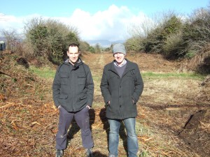 Andrew Fleming and Garvan Cummins of the Déise Greenway voluntary community group pictured near Durrow Station after the line was cleared of vegetation. Andrew's Great Grandfather was the Station Master at Durrow many years ago