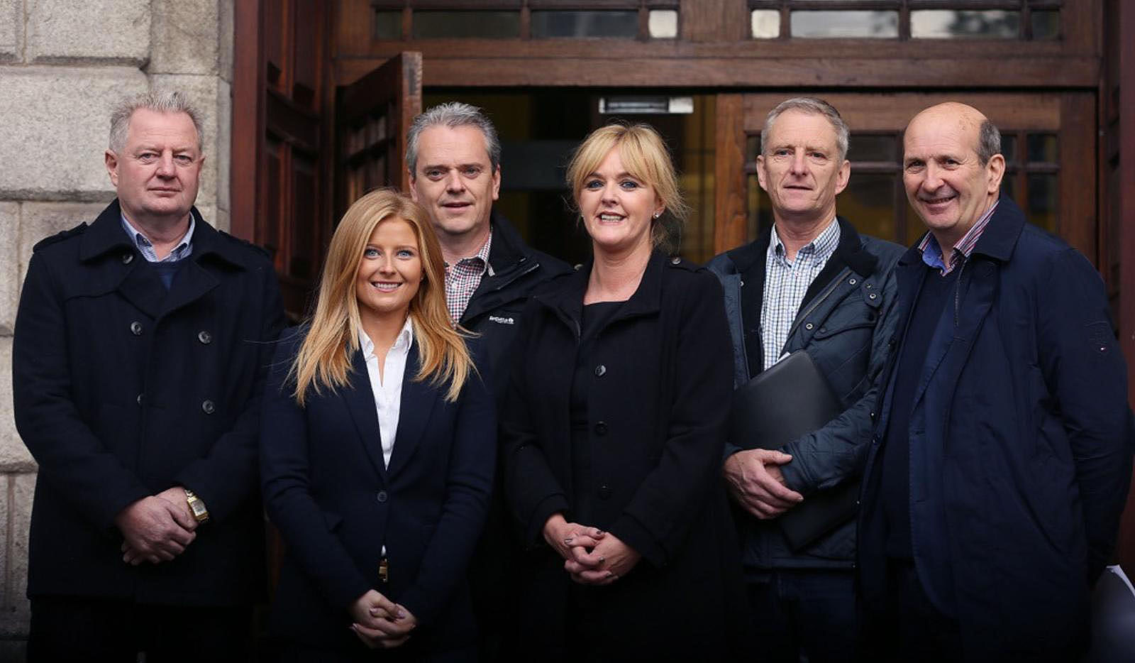 Pictured from left: Paul and Naomi Barlow (Dunmore East), Michael Crowley (Killinick, Co Wexford); Portlaw native Niamh White (O'Shea White & Co, Killarney); Gerard Kelly, (Greencastle, Co Donegal) and Alex McCarthy (Kildimo, Co Limerick) pictured outside the Supreme Court in Dublin after the judgement hearing.