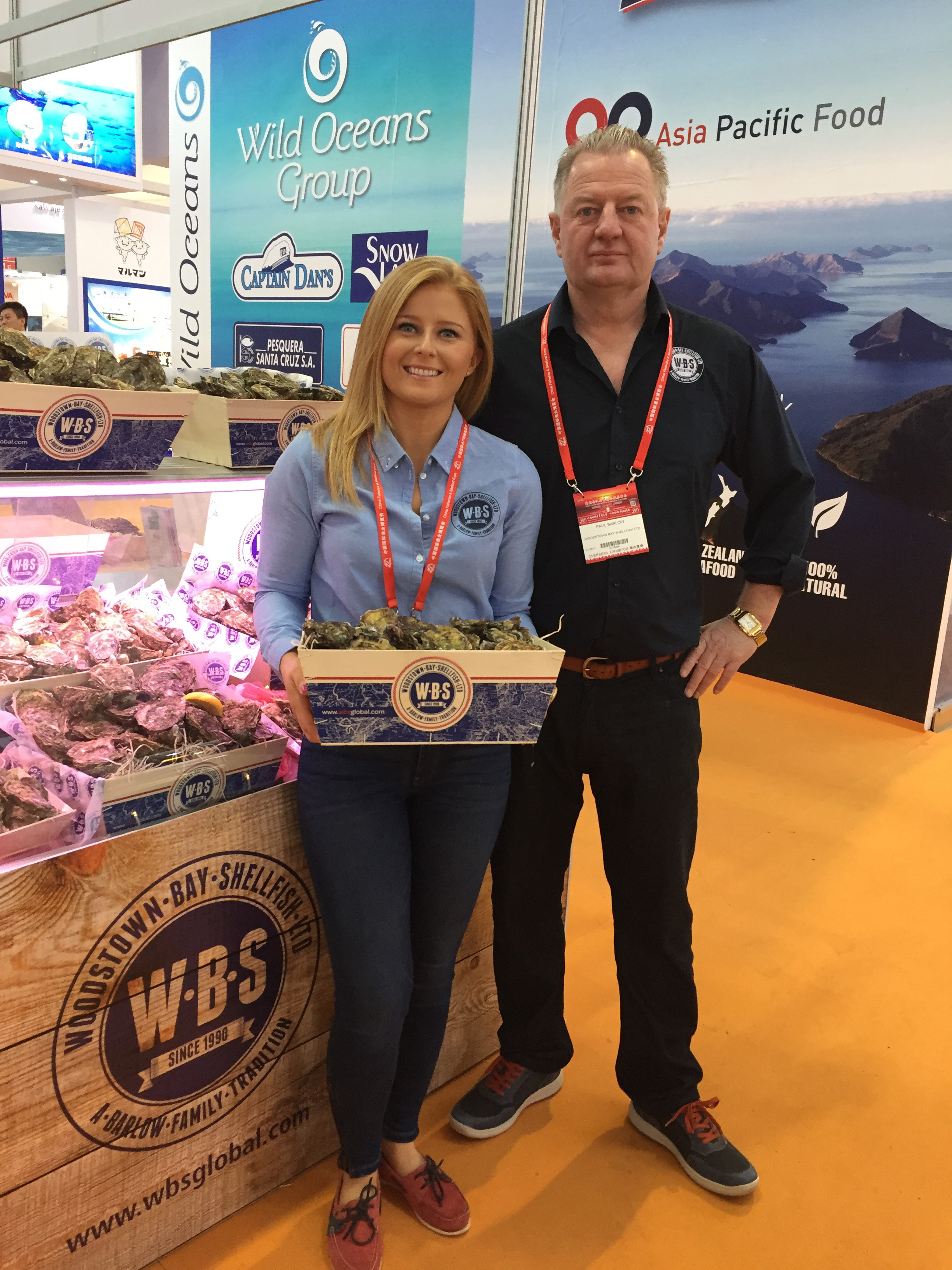 Paul and Naomi Barlow of Woodstown Bay Shellfish, pictured in Qingdao, China during the recently held China Fisheries & Seafood Expo.
