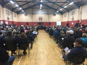 A section of the huge crowd in attendance at last week's public meeting in the Rainbow Hall, Kilmacthomas.
