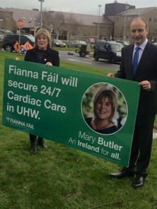 Waterford Fianna Fáil TD Mary Butler pictured with party leader Micheál Martin outside University Hospital Waterford during this year's general election campaign