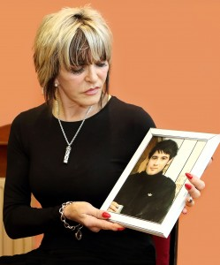 Christina Donnelly, whose campaign to see the country's drink driving laws has finally borne fruit, seven years after her son Brendan (in the frame) and friend Lee Salkeld were killed by a drunk driver. | Photo: Noel Browne