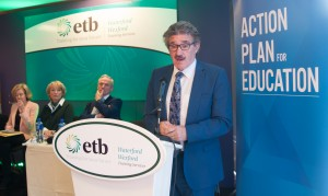 Minister of State John Halligan speaking at the launch of the Action Plan for Education held at the Waterford Training Centre on Friday last.