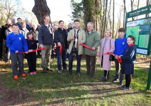 Mayor of Waterford City & County Council, Cllr.Adam Wyse pictured cutting the ribbon at the official opening of the Dunmore East NeighbourWood Scheme. Also included were Robert Hamilton, Forest Service Inspector, Tommy Enright, Forestry Services Ltd, Lord Waterford,  Mary Torrie, Treasurer, Dunmore Woodland Trust and local school children, Antoni Granowicz and John Waldron, Killea National School, Erin Acheson and Sophie Waldron, Light of Christ National School.