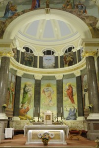 The restored main sanctuary with the mosaics and frescoes of the apse
