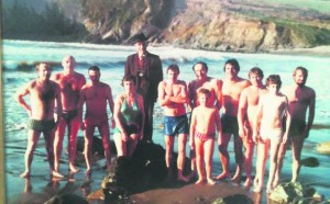 The original swimmers pictured at Kilmurrin Cove over 30 years ago.