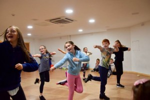 Hard at working rehearsing for this year's panto