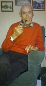 The late Maurice Nugent, laid to rest on Wednesday last, relaxing with his beloved pipe following his 100th birthday in August 2015.