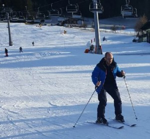 A first ski lesson for TV3 producer Jody Sheridan in Westendorf, Austria.