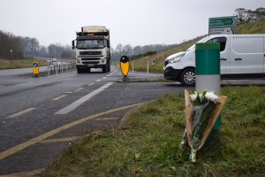 Flowers at the Tower Road Junction in Piltown, where motorist Denis Walsh lost his life on December 1st.