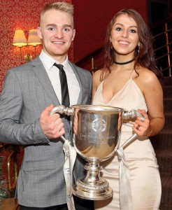 Waterford's Willie Hahessy and Roisín Murphy pictured with the James Nowlan Cup at the Park Hotel on Sunday last.