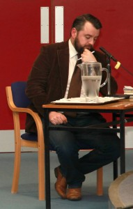 Deep in thought: the Debate Moderator Dermot Keyes preparing his next question. PHOTO: George Goulding