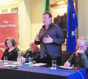 New Workers' Party member Dick Roche addressing the party's recent meeting on social housing.