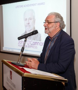 Flabbergasted: John O'Connor, who received the Local Ireland Lifetime Achievement Award for his work in regional newspapers in Portlaoise on Thursday last.
