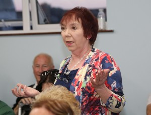 Mary Power, postmistress, Kilmacthomas Post Office, speaking at the meeting in the Rainbow Hall. Photo: John Power.