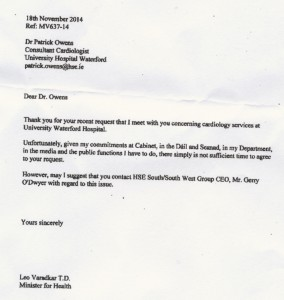 The November 2014 letter Dr Patrick Owens of UHW received from then Health Minister and newly elected Taoiseach, Leo Varadkar. Inset: local campaigner and former European Parliament election candidate, Kieran Hartley, whose FOI request led to the disclosure of this email.