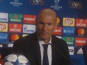 Real Madrid manager Zinedine Zidane speaks to the press after the match