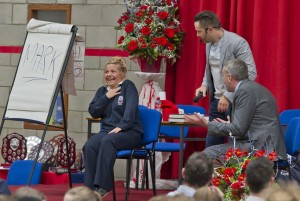 What a show! Keith Barry shocks Sixth Year student Laura Przybycien with some help from Deputy Principal, Com Rice.