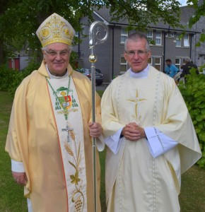 Fr Brian Griffin from Slieverue, who was ordained in 2015, pictured with Bishop Seamus Freeman.