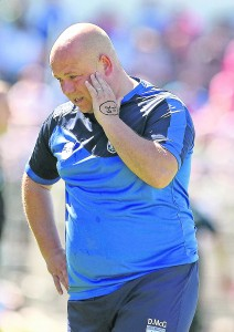 A penny for them? A pensive Derek McGrath pictured during Waterford's Munster Hurling Semi-Final defeat to Cork. See Sport 2-7 for further coverage. | Photo: Noel Browne