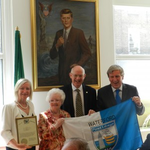 Pictured at the Camden Irish Centre (in Kennedy Hall, in front of a portrait of President John F Kennedy) were, from left, Mrs Greta Mulhall (wife of Ambassador Dan Mulhall), Mary Allen (President, Waterford Association, London), Barry O'Leary (Chair of Irish Counties Association) and Irish Ambassador to the UK and Deise native Dan Mulhall.  | Photos: Johannes Walsh