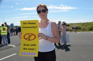 Aoife Kiely pictured at last Sunday's protest in Bonmahon.