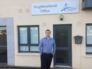 Not pleased: Cllr Eamon Quinlan outside the Carrickpherish Community office.