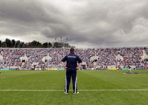 Davy Fitzgerald running the eye over his Wexford players during Sunday's pre-match warm-up at the new Páirc Uí Chaoimh. | Photos: Noel Browne