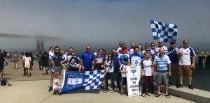A group of Waterford ex-pats gather underneath the mist-shrouded Golden Gate Bridge to show their support for the Deise!