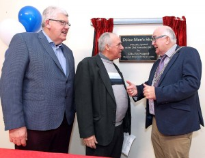 Mayor of Waterford City & County Council, Cllr Pat Nugent chatting with one of the Deise Men's Shed founders, Willie Moore and Mattie O'Shea (Waterford Industrial Properties) at last Thursday's official opening of the Deise Men's Shed. See News 14 for more.| Photo: Noel Browne