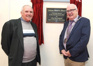 Deise Men's Shed Chairperson Willie Moore with City & County Mayor Pat Nugent at the official opening of the facility on Thursday last. 			| Photos: Noel Browne