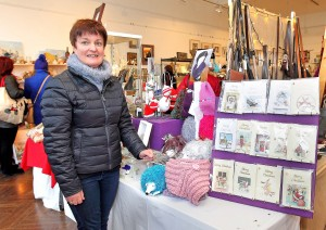 Mary Guinan of Handcrafted Knitted Gifts & Cards at the Christmas Craft Fair at Garter Lane.