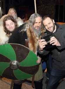 Moe Dunford, the Waterford born actor in 'Vikings', pictured taking a selfie with some Waterford Vikings!