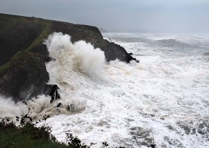 The Guillamene at Tramore pictured during Storm Ophelia. | Photo: Noel Browne