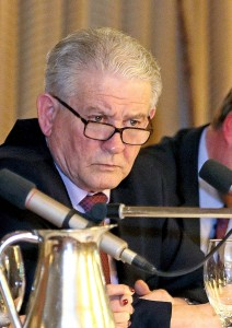 County Board Chairman Paddy Joe Ryan listening intently as a questions is fielded from the floor at last Thursday's County Convention at Lawlor's Hotel in Dungarvan. See Sport 2 and 3 for more.  									| Photo: Noel Browne