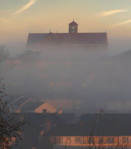 Morning mist near the Holy Family Church in Ballybricken. Waterford remains Ireland's tidiest city.  									| Photo: Noel Browne