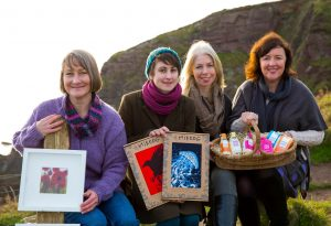 Pictured is Shona MacDonald of Mireog, Pippa Sweeney of Pippa Sweeney Designs and Deidre Meaney and Karen Cottier of Wild Oats Soap.