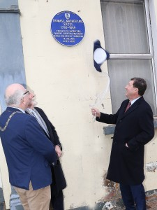 Pictured at the Unveiling of a Waterford Civic Trust Heritage Blue Plaque at 22, Lady Lane in Honour of Thomas Mackesy, President, Royal College of Surgeons, 1862 was Prof. John Hyland, (President of The Royal College of Surgeons, Ireland), City & County Mayor Pat Nugent and Des Griffin (President, Waterford Civic Trust.)| Photos: John Power