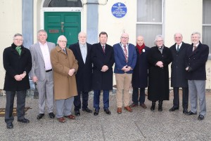 Pictured are Mayor Of Waterford City & County Pat Nugent, Des Griffin (President, Waterford Civic Trust) and Professor John Hyland. Also included were Mr Joe O'Beirne, Jarlath Fallon and Donie Brazil (Civic Trust), Edward McBride (Great Great Great Grandson), Dean Maria Jansson, Mr Gordon Watson and Mr Martin Donnelly (Senior Lecturer in Otolaryngology, RCSI, UHW).