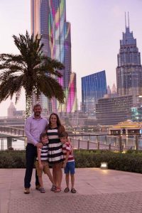 The Wedick family pictured in Dubai.