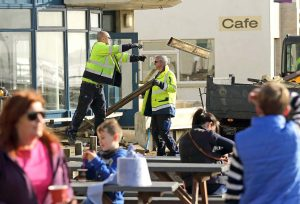 The post-Ophelia clean-up begins in Tramore. The Government still owes the local authority considerable funds, according to City & County Councillors. | Photo: Noel Browne
