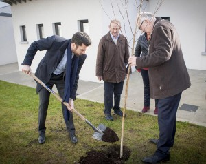 Minister Eoghan Murphy and City & County Mayor Pat Nugent planting a tree to mark the official opening of the newly refurbished housing scheme for the elderly at Convent Hill in Tramore. Inset: City & County Council Chief Executive Michael Walsh. 											| Main Photo: John Power